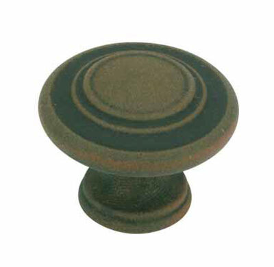Amerock Inspirations Round Furniture Knob 1-3/8 in. Dia. 1 in. Antique Rust 1 pk