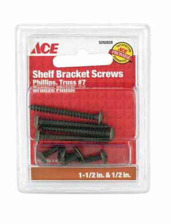 Ace Steel Bronze Ornamental Shelf Bracket Screws Assorted in. L