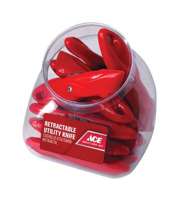 Ace Retractable Blade Utility Knife Red