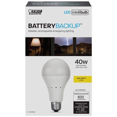 FEIT Electric Intellibulb LED Battery Backup Light Bulb 8.5 watts 600 lumens 2700 K A-Line A21
