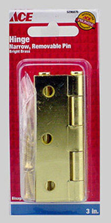 Ace 3 in. L Narrow Hinge Bright Brass