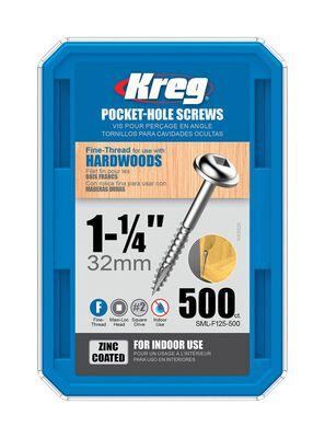 Kreg Washer Pocket-Hole Screw No. 7 x 1-1/4 in. L Zinc Steel 500 pk