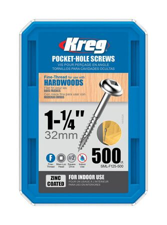 Kreg Washer Pocket-Hole Screw No. 7 x 1-1/4 in. L Zinc Steel 500 pk