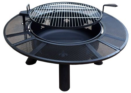 Fire Pit With Grate, Grill, and Louisiana Map and Fleur-De-Lis Design