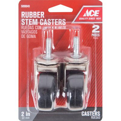 Ace Rubber 2 in. Dia. Swivel Black/Silver Caster 80 lb. 2 pk