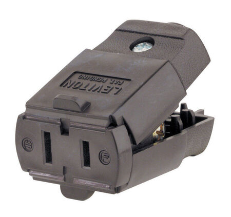 Leviton Residential Polarized Connector 1-15R 2 Pole 2 Wire Brown