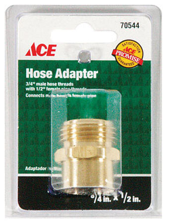 Ace 3/4 in. MHT x 1/2 in. FPT Brass Hose Adapter Male/Female Threaded