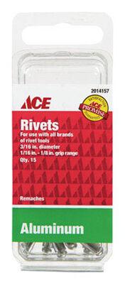 Ace 3/16 in. Dia. x 1/8 in. Aluminum Rivets 15 pk