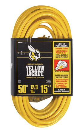 Yellow Jacket Indoor and Outdoor Triple Outlet Cord 12/3 SJTW 50 ft. L Yellow