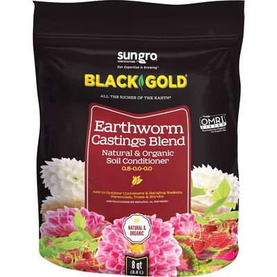 Black Gold Earthworm Castings Soil Conditioner Organic 8 qt. Bagged