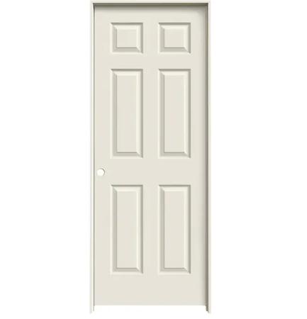 "Colonist 32"" x 80"" Single Prehung Interior Door Unit - Primed 6-Panel Hollow Core Left Hand w/ Flat Jamb - No Trim"