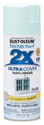 Rust-Oleum Painter's Touch Ultra Cover Ocean Mist Gloss 2x Paint+Primer Enamel Spray 12 oz.