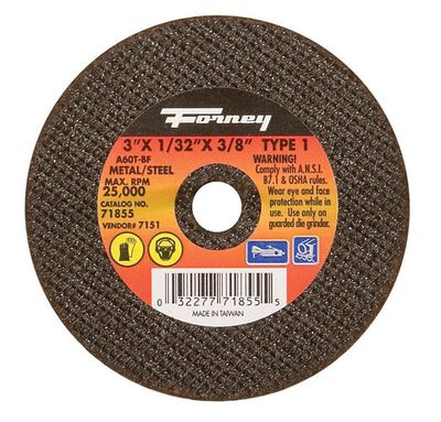 Forney 3 in. Dia. x 1/32 in. thick x 3/8 in. Metal Cut-Off Wheel