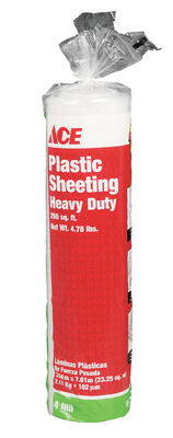 ACE Plastic Sheeting 4 mil x 10 ft. W x 25 ft. L Polyethylene Clear