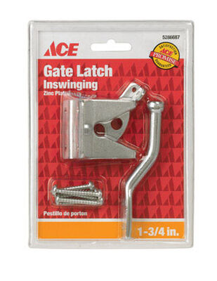 Ace Gate Latch Inswing 1-3/4 in. x 1-3/4 in. For gates Shed/Barn Doors or Animal Pens Zinc Zinc