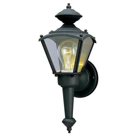 Westinghouse Clear Matte Black Glass Wall Lantern 1
