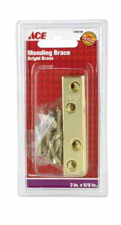 Ace Mending Brace 3 x 5/8 Brass 4 pk Clamshell