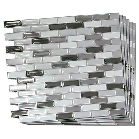 Smart Tiles Murano Metallik Self-Adhesive Tiles - Rectified Edges - Glossy - 9.1-in L x 10.2-in W - 6-Pack
