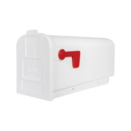 Solar Group Gibraltar Deluxe Polybox Plastic Post Mounted Mailbox White 9-9/16 in. H x 19-3/8