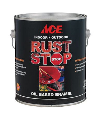 Ace Interior/Exterior Rust Stop Oil-based Enamel Paint Gloss Black Gloss 1 gal.