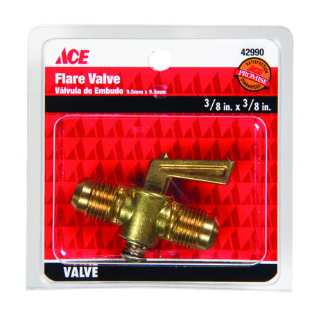 Ace 3/8 in. Dia. x 3/8 in. Dia. Flair Valve Brass