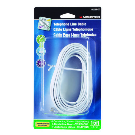 Monster Cable 15 ft. L White Modular Telephone Line Cable