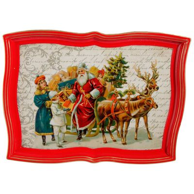 "*SB*17"" SANTA WITH REINDEER TRAY"