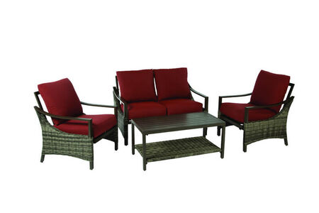 Living Accents Valencia 4 pc. Brown Aluminum Frame Deep Seating Seating Set Red