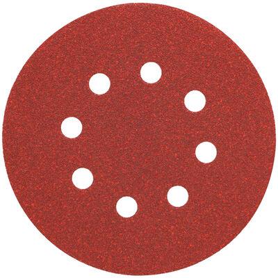"""5"""" 8 Hole 80 Grit Hook and Loop Random Orbit Sandpaper (25 pack)"""