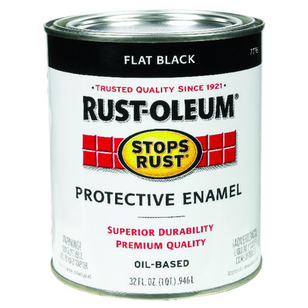 Rust-Oleum Indoor and Outdoor Oil Based Protective Enamel Black Flat 1 qt.