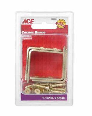 Ace Inside L Corner Brace 1-1/2 in. x 5/8 in. Brass