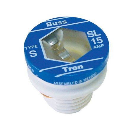 Bussmann Tamper Proof Plug Fuse 15 amps 125 volts 3 pk For Small Motor And Inductive Load Circuits
