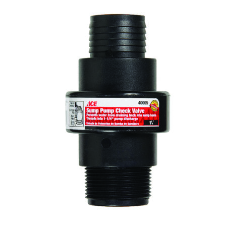 Ace 1-1/4 to 2 in. MPT ABS Plastic Sump Pump Check Valve