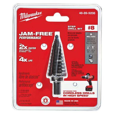 Milwaukee JAM-FREE 1/2 - 1 in. Dia. x 6 in. L Black Oxide Step Drill Bit 1 pc.