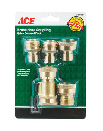 Ace Brass Quick Connector Hose Set Threaded
