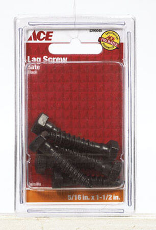Ace Lag Screw Ornamental 1-1/2 in. x 5/16 in. Use with Ornamental Hinges Black