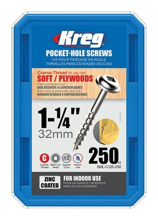 Kreg Tool Maxi-Loc Pocket-Hole Screw No. 7 x 1-1/4 in. L Zinc-Plated Steel 250 count Indoor