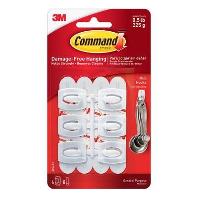 3M Command Mini Hook 11/8 in. L Plastic 1/2 lb. per Hook 6 pk