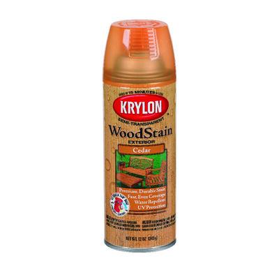 Krylon Semi-Transparent Water-Based Exterior Wood Stain Aerosol Cedar 12 oz.
