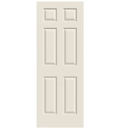 """Colonist 36"""" x 80"""" Primed 6-Panel Textured Hollow Core Slab Door"""