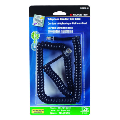 Monster Cable 12 ft. L Black Telephone Handset Coil Cord