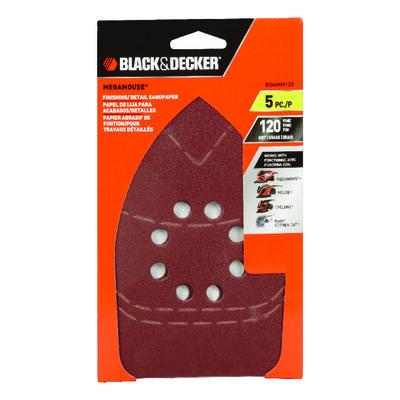 Black+Decker Mega Mouse Aluminum Oxide Sandpaper 6 in. L 120 Grit Fine 5 pk