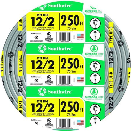 Southwire 250 ft. 12/2 Type UF-B WG Underground Feeder Cable Gray