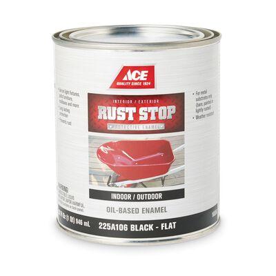 Ace Interior/Exterior Rust Stop Oil-based Enamel Paint Black Flat 1 qt.