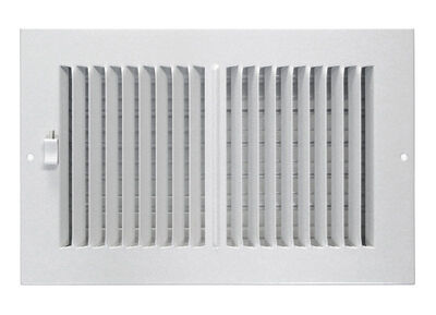 Tru Aire 4 in. H x 8 in. W x 1-13/16 in. D White Steel 2-Way Supply Wall/Ceiling Register