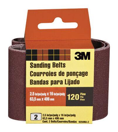 3M Sanding Belt 2-1/2 in. W x 16 in. L 120 Grit Fine 2 pk