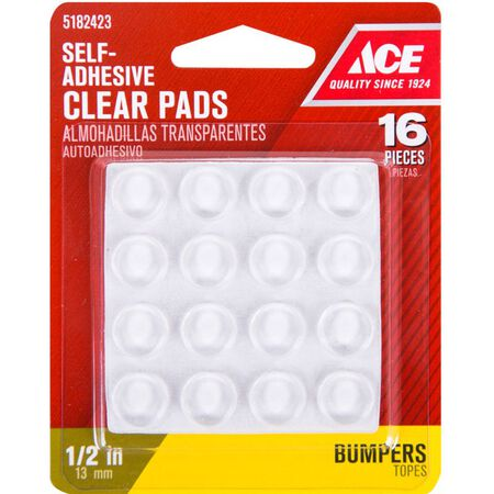 Ace Vinyl Round Protective Pads Clear 1/2 in. W 16 pk