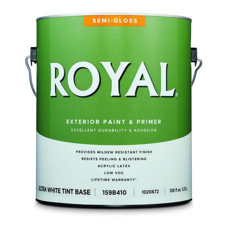 Royal Semi-Gloss Ultra White Base Acrylic Latex Paint + Primer Outdoor 1 gal.