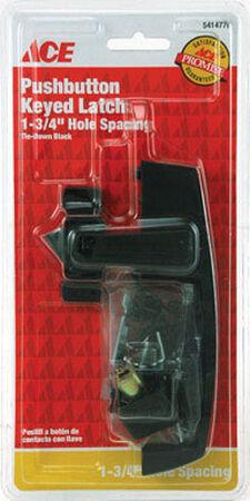 Ace Interior/Exterior Steel Black Push Button Keyed Latch