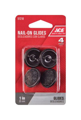 Ace 1 in. W x 1 in. Dia. Nylon / Carpet Nail-On Glide with Carpet Base 4